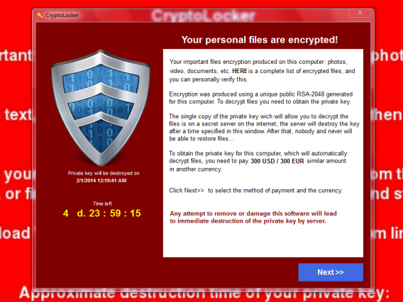 Messaggio di esempio - Cryptolocker