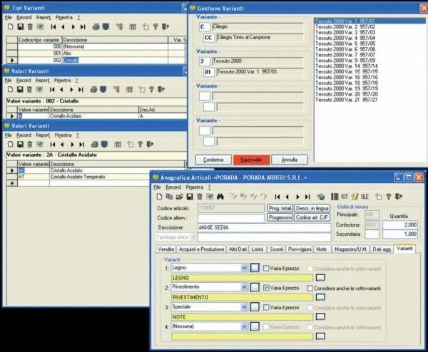 Configuratore di prodotto con varianti - software Gestionale Aziendale NTS Business - sisoft srl